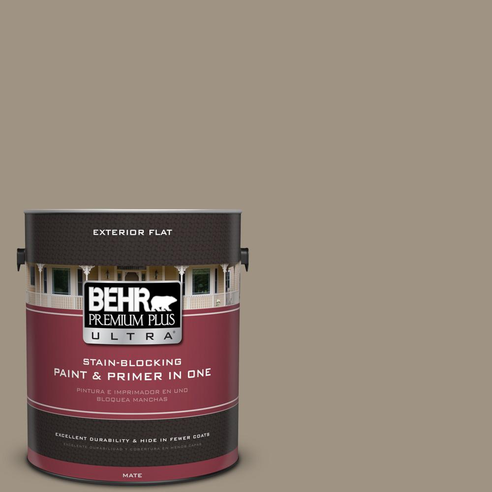 BEHR Premium Plus Ultra 1 gal. #UL170-21 Rolling Pebble Flat Exterior Paint