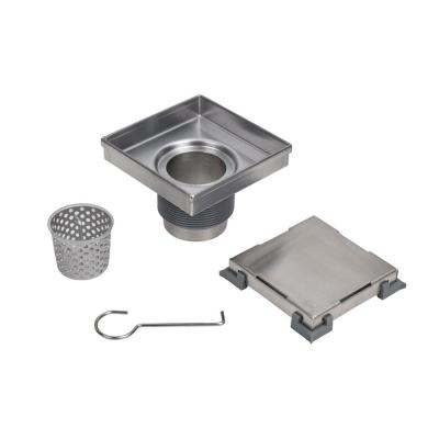 Designline 4 in. x 4 in. Stainless Steel Square Shower Drain with Tile-In Pattern Drain Cover