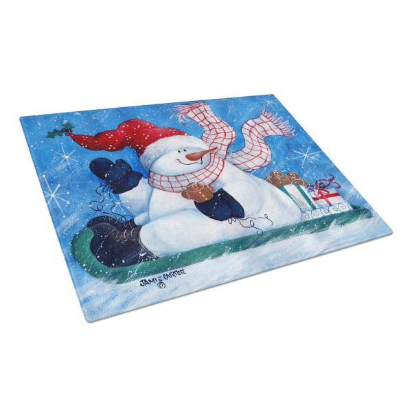 Caroline's Treasures Come Ride with Me Snowman Tempered Glass Large Cutting