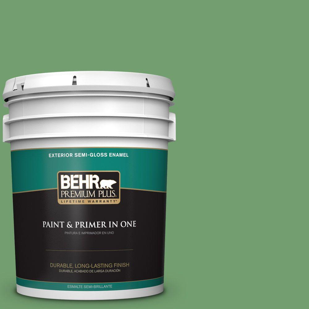 BEHR Premium Plus 5-gal. #450D-6 Shire Green Semi-Gloss Enamel Exterior Paint