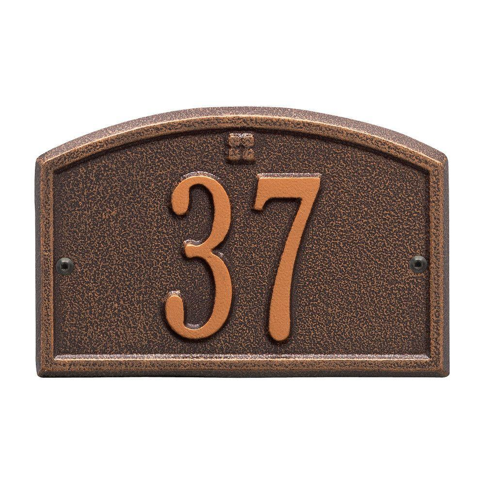 Whitehall Products Cape Charles Rectangular Antique Copper Petite Wall 1-Line Address Plaque