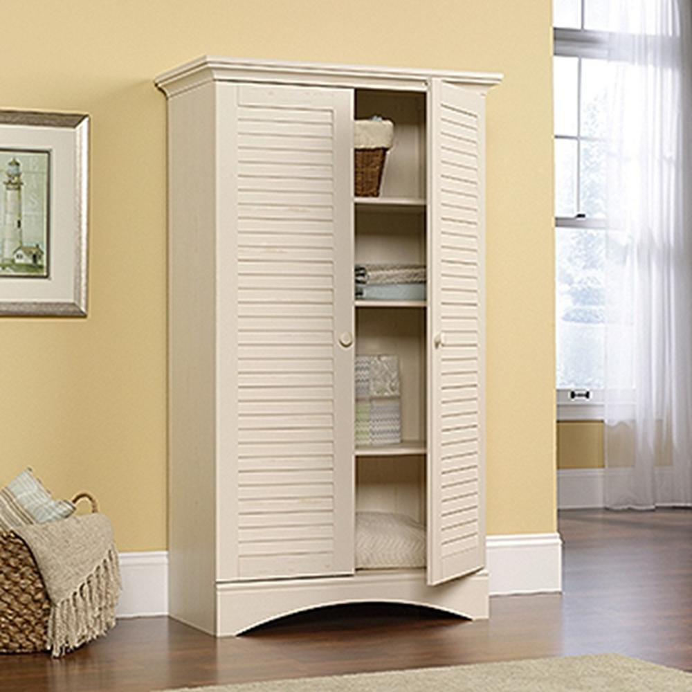 5 Shelves Storage Cabinet 2 Door Antiqued White Wood Furniture