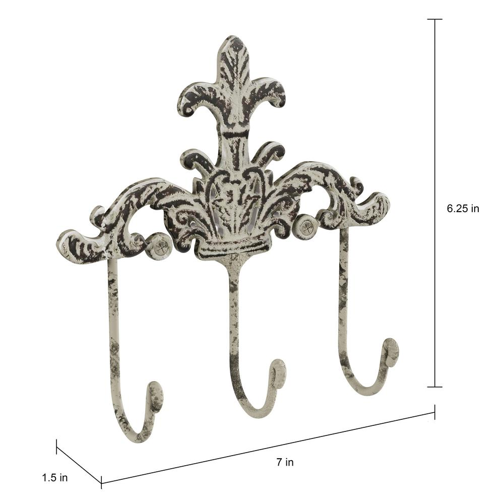 Set of 3 Hats and More Jewelry Lavish Home Decorative Hooks-3 Cast Iron Shabby Chic Rustic Fleur De Lis Wall Mount Hooks for Coats