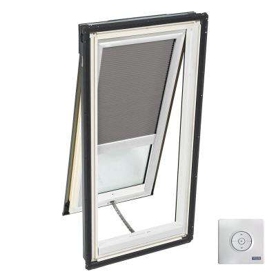 21 in. x 54-7/16 in. Solar Powered Venting Deck-Mount Skylight Laminated Low-E3 Glass and Grey Room Darkening Blind