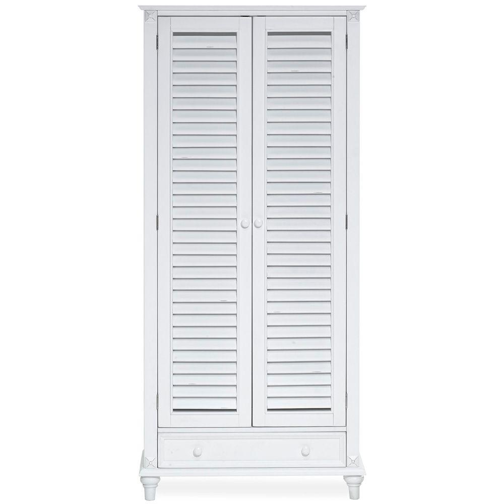 Home Decorators Collection Savannah White 6-Shelf Bookcase with Drawer and Wood Doors