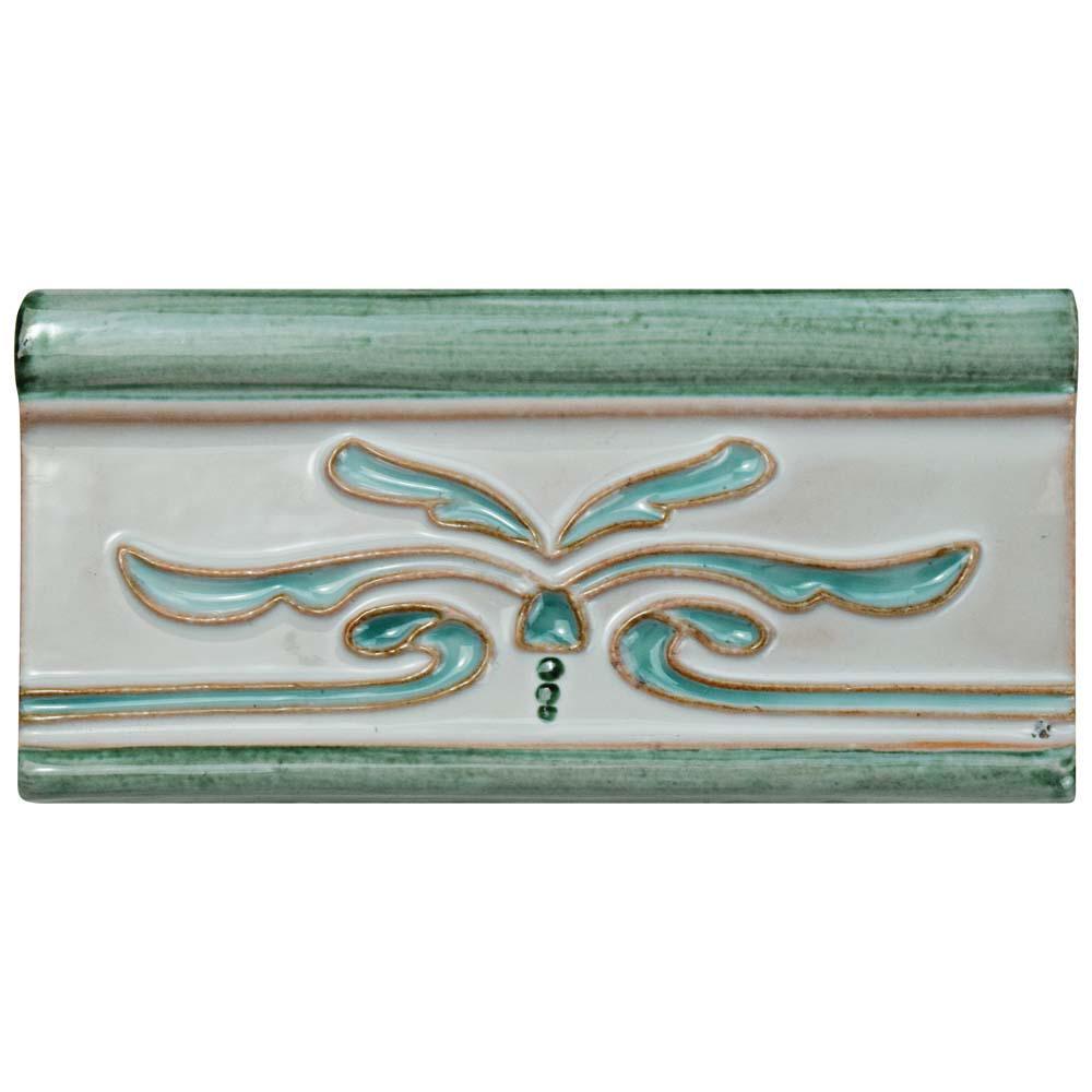 Novecento Cenefa Evoli Aguamarina 2-5/8 in. x 5-1/8 in. Ceramic Wall Trim Tile