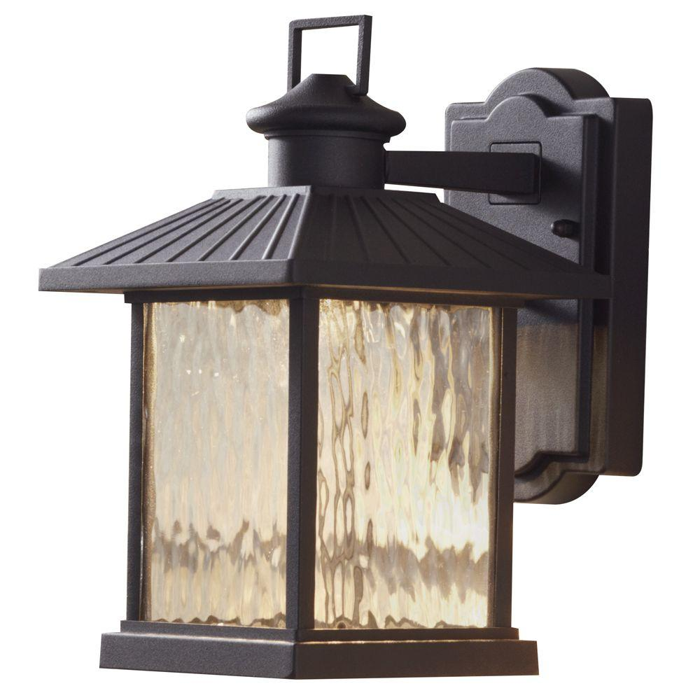 Hampton Bay Lumsden 7 In Black Outdoor Integrated Led Wall Mount Lantern With Photocell