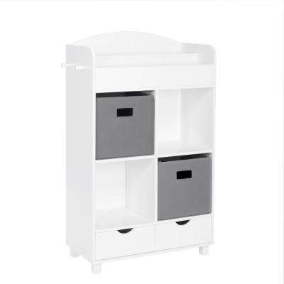 Kids White Cubby Storage Cabinet with Bookrack with 2-Piece Gray Bins