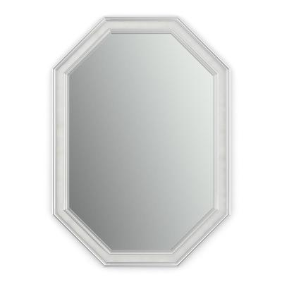 33 in. W x 46 in. H (L3) Framed Octagon Standard Glass Bathroom Vanity Mirror in Chrome and Linen