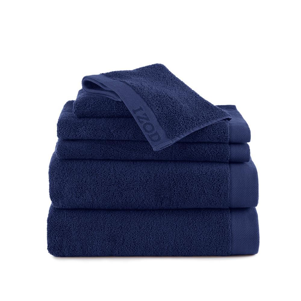 Classic 6-Piece Dress Blue Solid Bath Towel Set