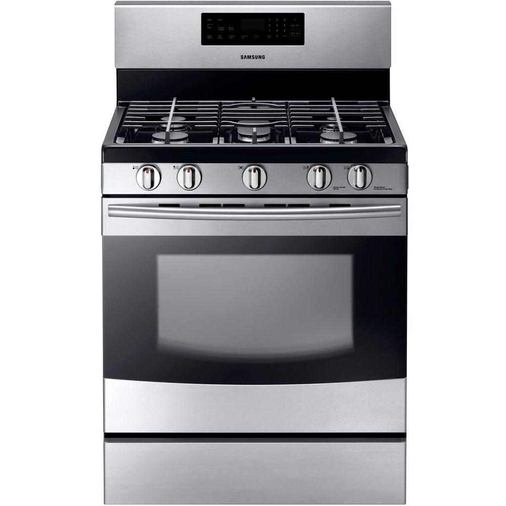 Samsung 30 in. 5.8 cu. ft. Gas Range with Self-Cleaning Oven and 5 Burner Cooktop with Griddle in Stainless Steel