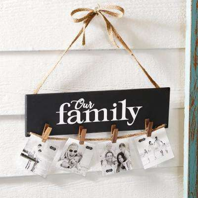 Our Family Natural Wood Photo Holder with Clothespins