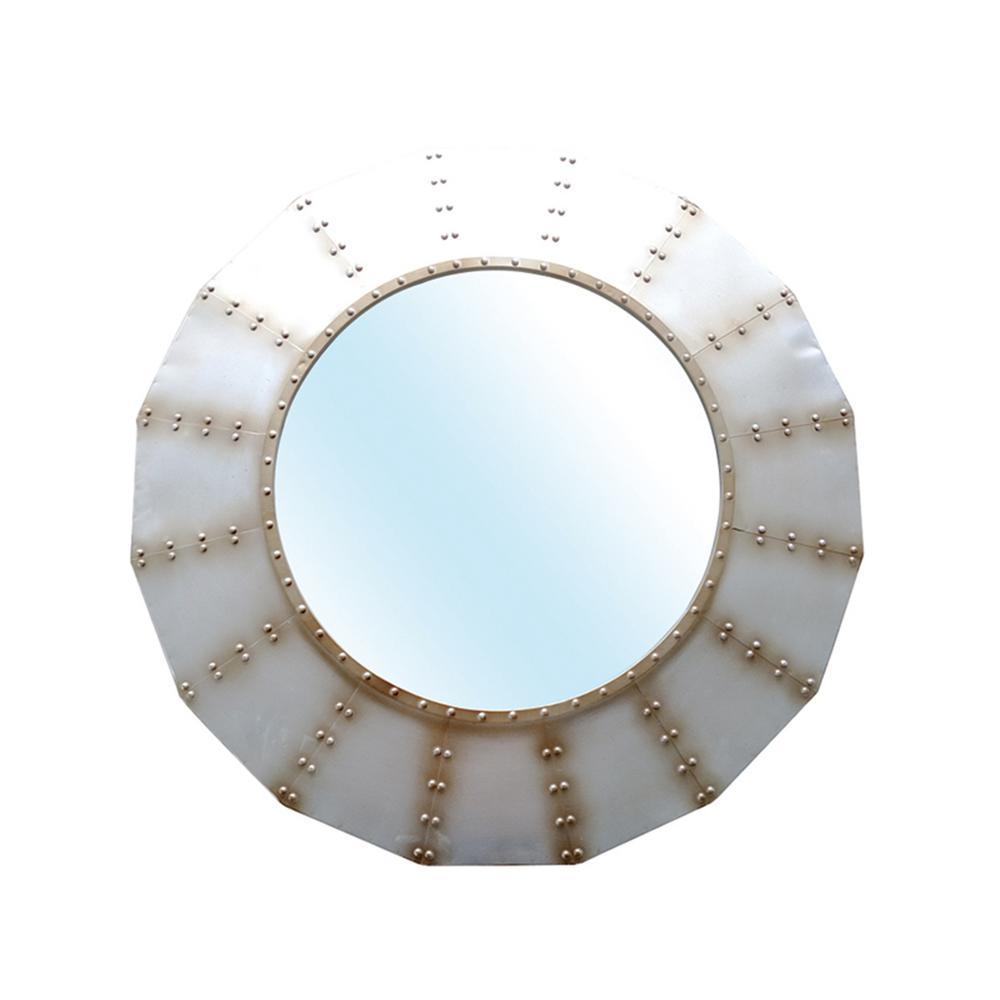 Stratton Home Decor Medium Round Bronze Modern Mirror 34 In H X 35 In W Shd0245 The Home Depot