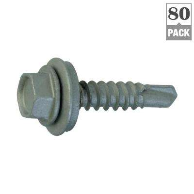#12 x 1 in. Hex-Washer-Head Drill Point Roofing Screw (80-Pack)