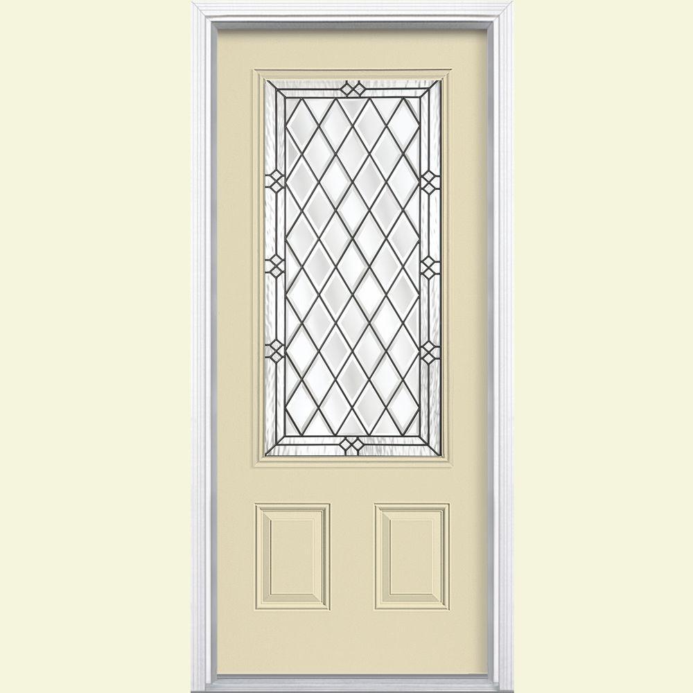 Masonite 36 in. x 80 in. Halifax 3/4 Rectangle Painted Steel Prehung Left-Hand Front Door with Brickmold