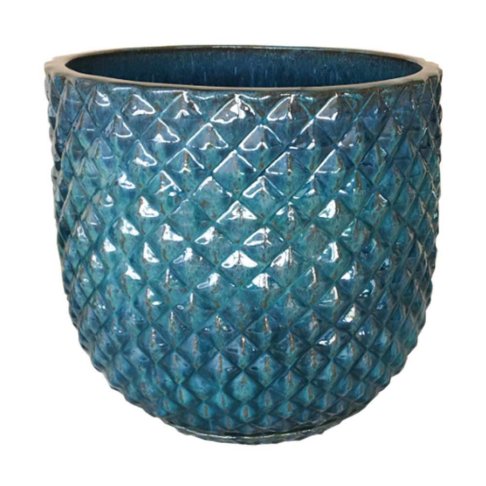 12 in. Pinequilt Blue Ceramic Pot