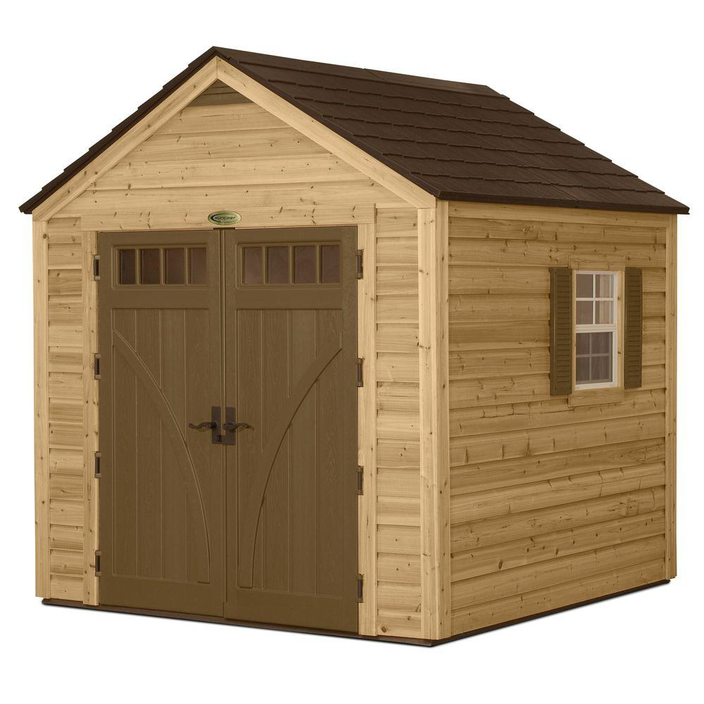 Suncast 8 ft. x 8 ft. Cedar and Resin Hybrid Storage Shed