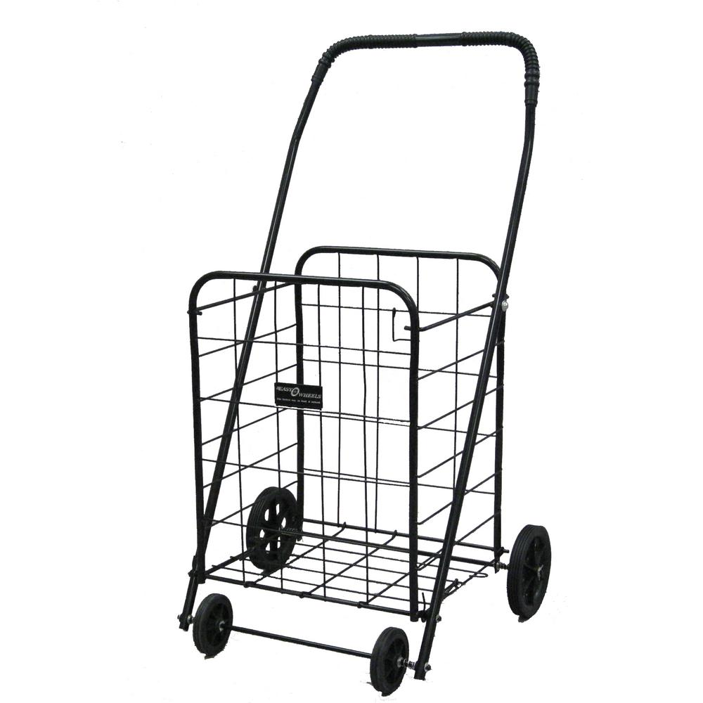Easy Wheels Shopping Cart Mitey-A in Black The Easy Wheels Mitey-A Shopping cart has been the industry's premier cart with industrial strength for home use. When lying down, with the cart folded, the highest measurement is the wheels with a 9.25 in. in diameter giving an incredible amount of convenience in a compact size. This particular model has hardened plastic wheels with rubber-like tread. Color: Black.