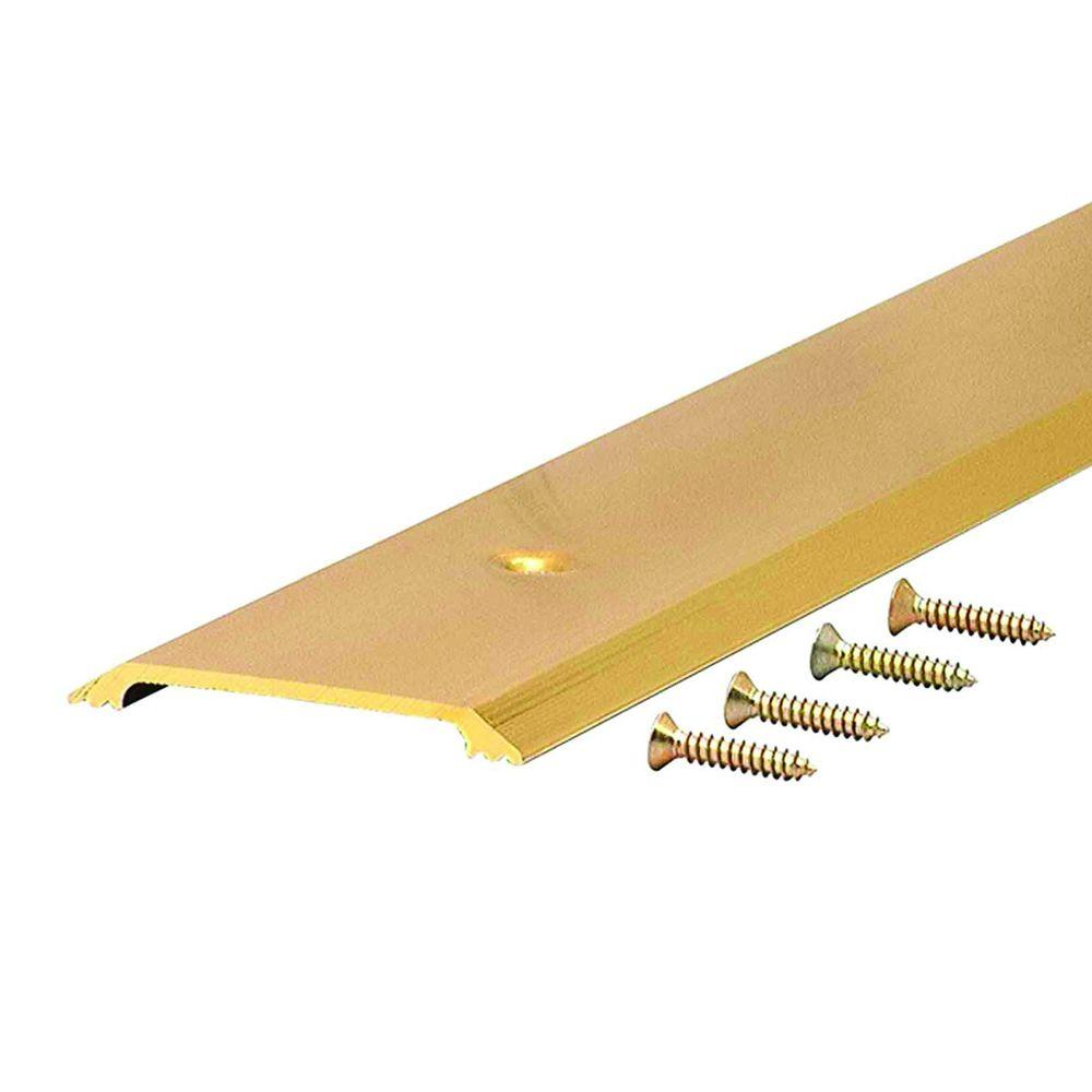 M D Building Products Flat Top 2 1/2 In. X 71 1/2 In. Brite Gold Aluminum  Saddle Door Threshold 99023071500   The Home Depot