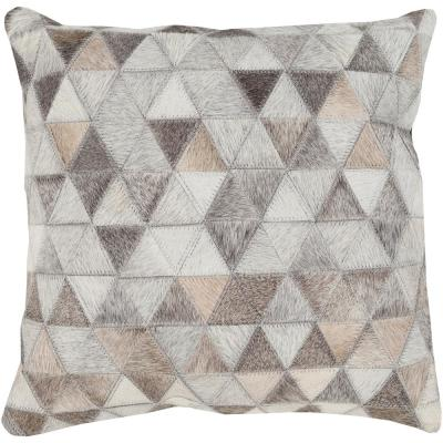Periyar Beige Geometric Polyester 18 in. x 18 in. Throw Pillow