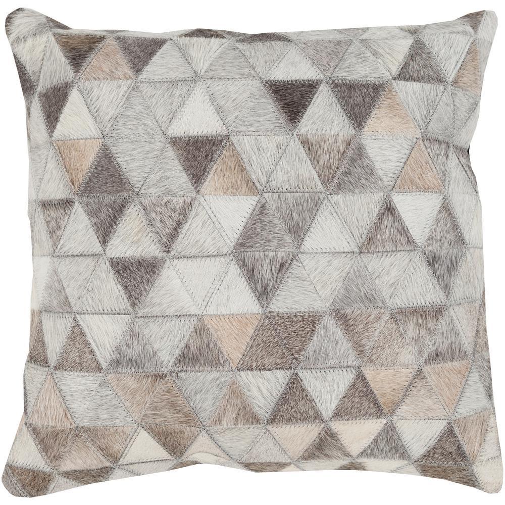 Periyar Beige Geometric Polyester 18 in. x 18 in. Throw Pillow