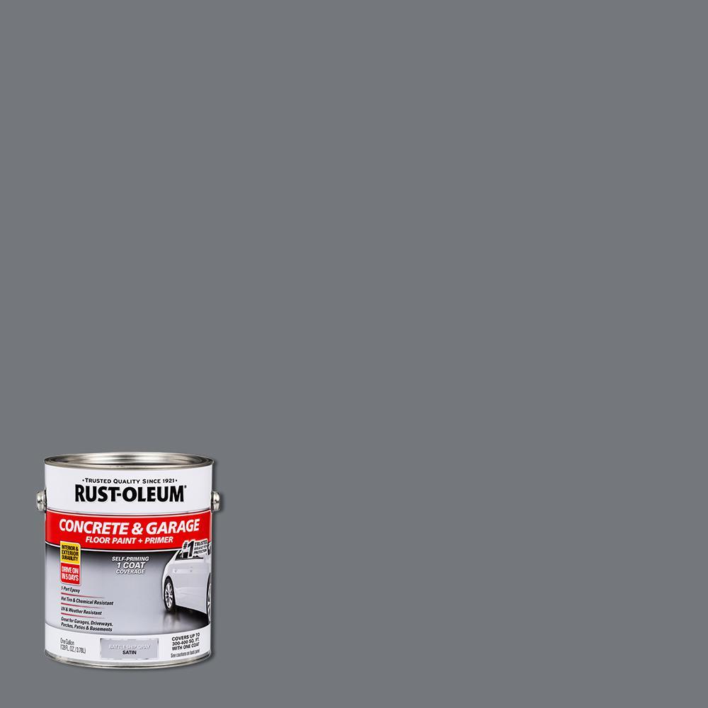 1 gal. Battleship Gray Satin 1-Part Epoxy Concrete Floor Interior/Exterior Paint (2-Pack)