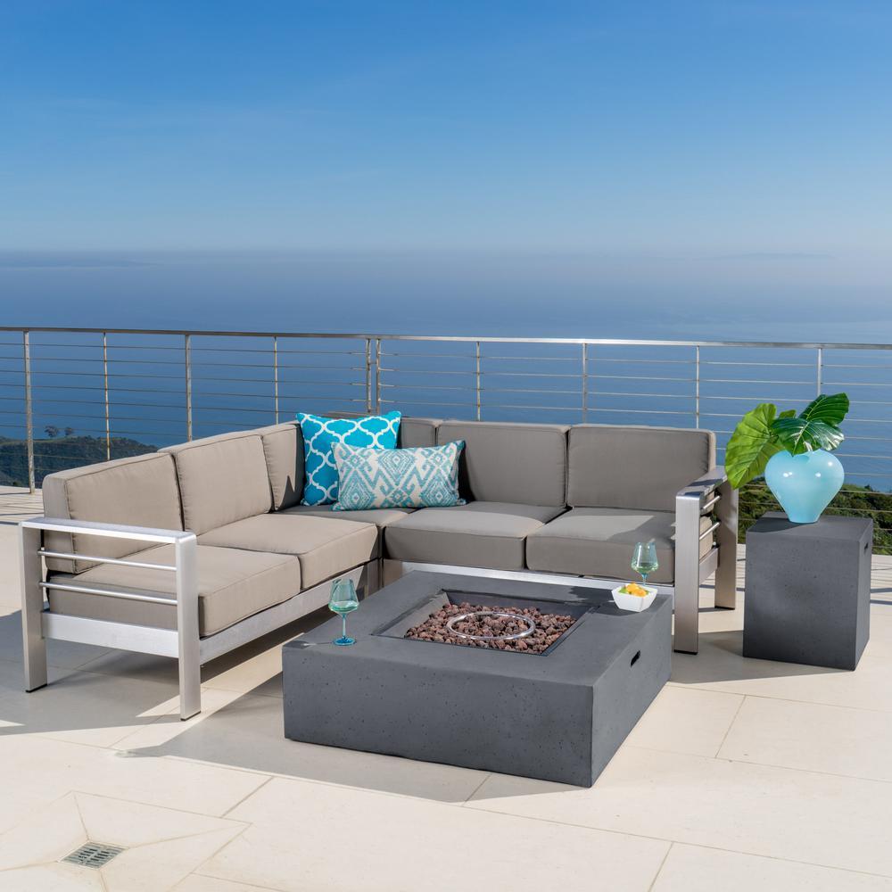 Cape Coral Khaki 5-Piece Aluminum Outdoor Sectional Set with Khaki Cushions