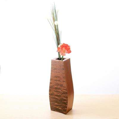 20 in. Mango Wood Bottle Floor Vase with Rustic Scraped Bark
