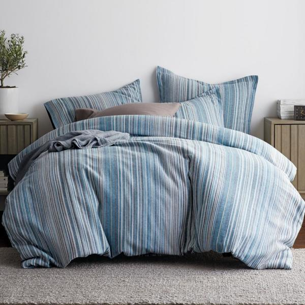 The Company Store Bromley Stripe Blue Queen Duvet Cover 50238D-Q-BLUE