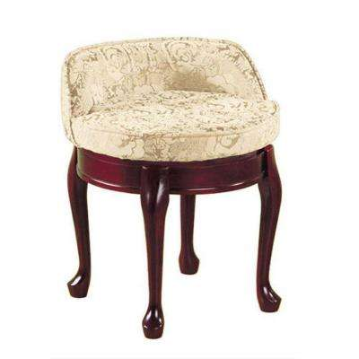 Delmar Ivory Damask Swivel Vanity Stool