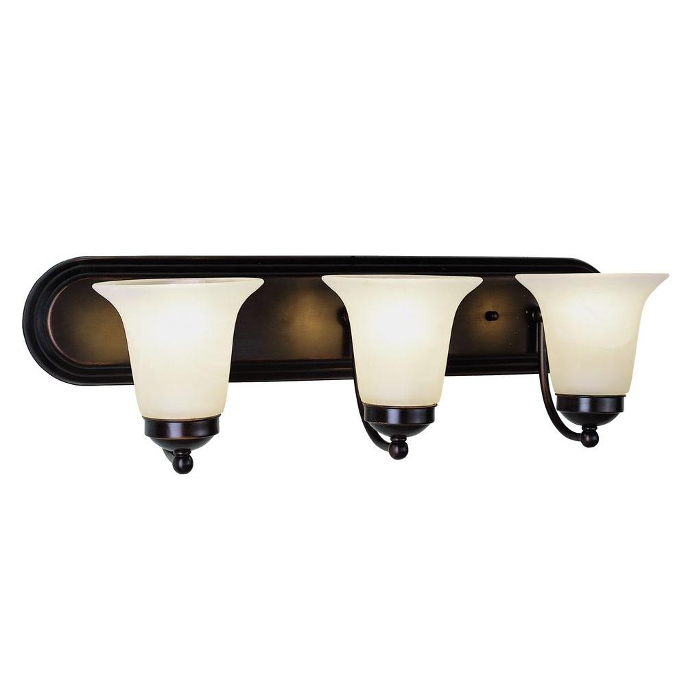 Bel Air Lighting Cabernet Collection 3-Light Oiled Bronze Bath Bar Light with White Marbleized Shade