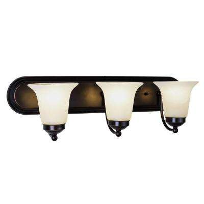 Cabernet Collection 3-Light Oiled Bronze Bath Bar Light with White Marbleized Shade