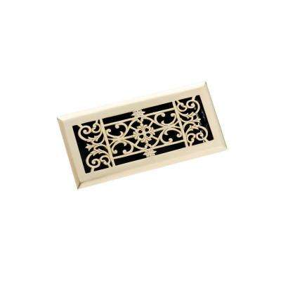 4 in. x 10 in. Decorative Floor Register, Polished Brass