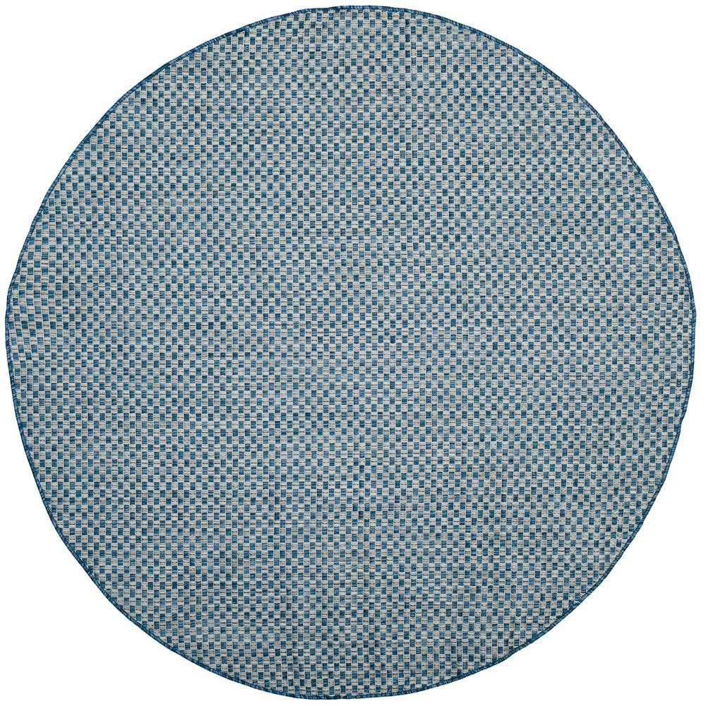 Courtyard Blue/Light Gray 6 ft. 7 in. x 6 ft. 7