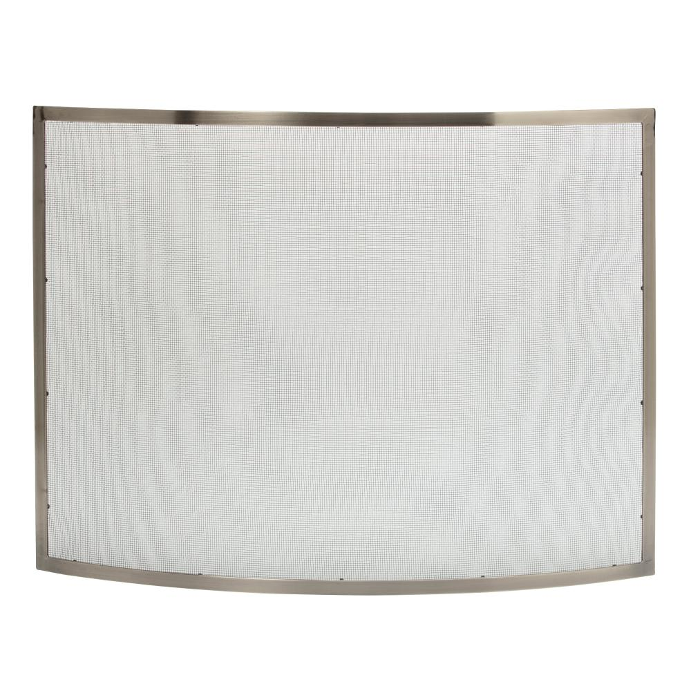 Heavy Duty Curved Pewter 41 in. W Single-Panel Fireplace Screen