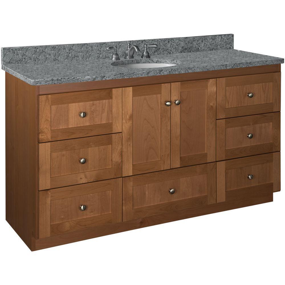 Shaker 60 in. W x 21 in. D x 34.5 in. H Vanity for Center Basin Cabinet Only in Medium Alder
