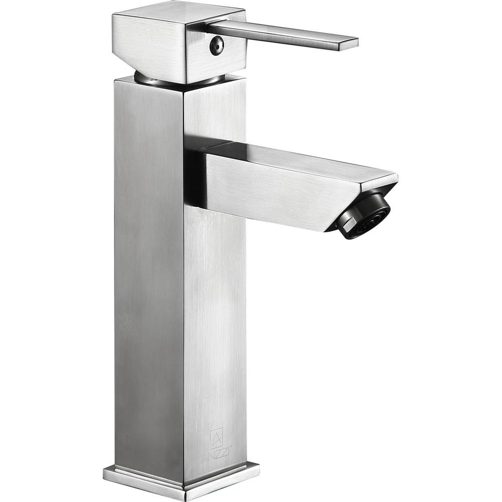 ANZZI Pygmy Single Hole Single-Handle Bathroom Faucet in Brushed Nickel