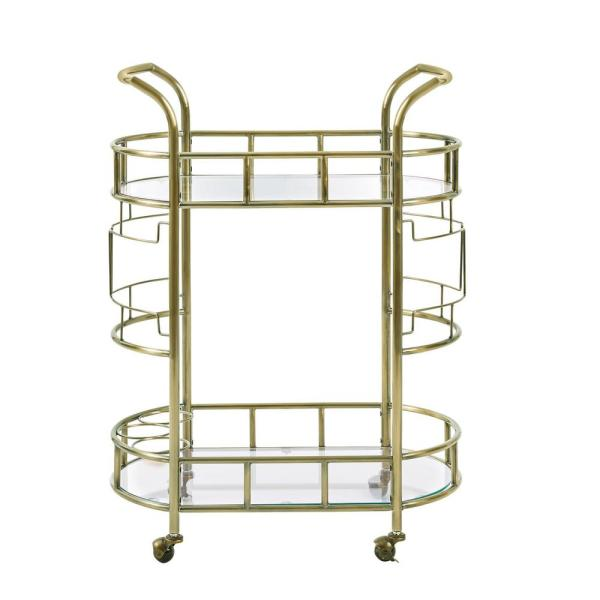Silverwood Furniture Reimagined Jules Antique Gold Bar Cart CPFS1259-G-AG