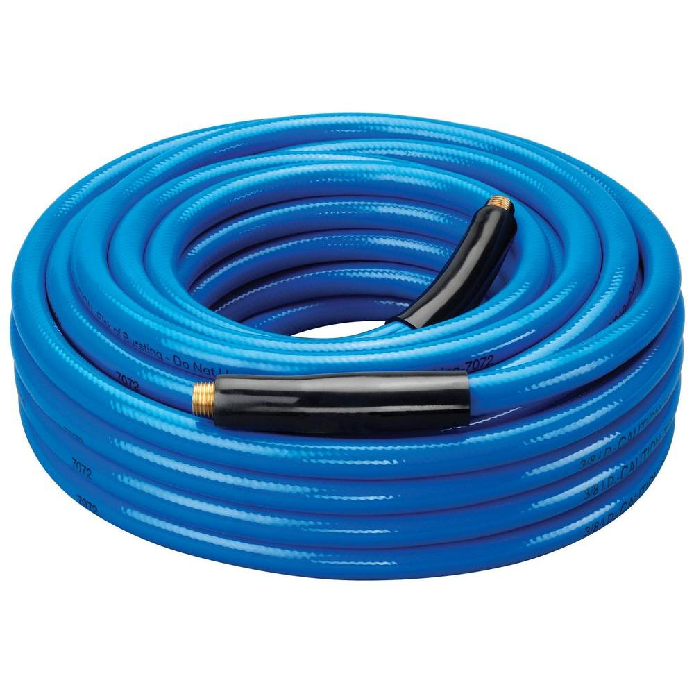 Amflo 3/8 in. x 50 ft. Blue Bend Restrictors Air Hose with 1/4 in. NPT Fittings