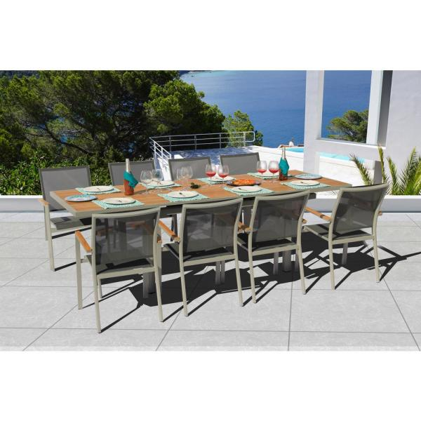 Essence Grey Seagull 9-Piece Aluminum Outdoor Dining Set with Sling Set in Pewter