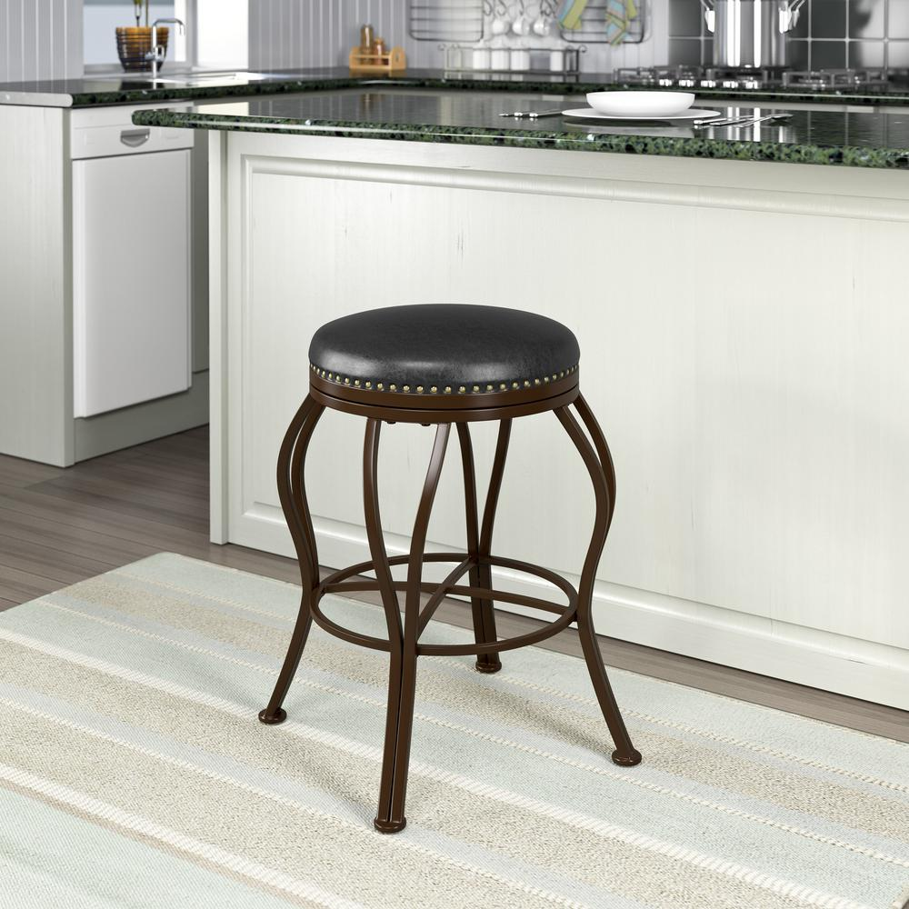 Jericho 25 in. Metal Bar Stool with Dark Brown Bonded Leather