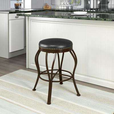Jericho 25 in. Metal Bar Stool with Dark Brown Bonded Leather Seat