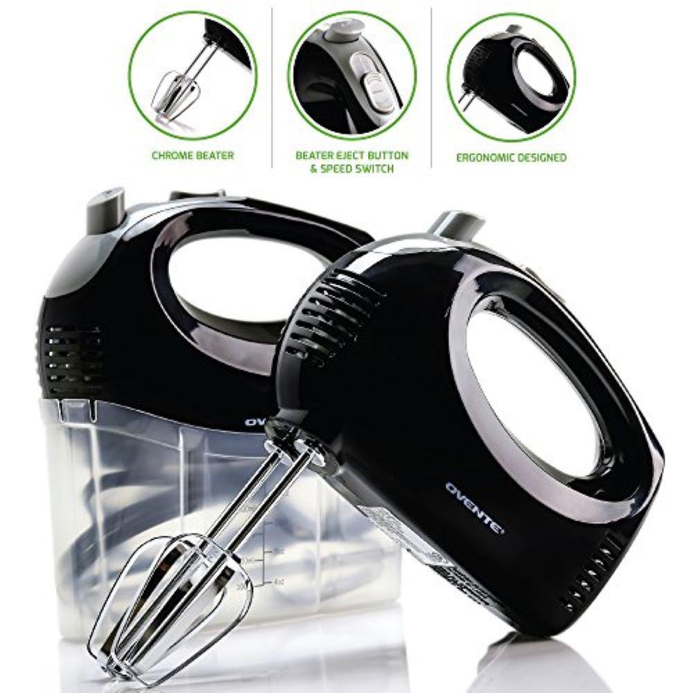 5-Speed Ultra Power Hand Mixer with Free Storage Case, Black