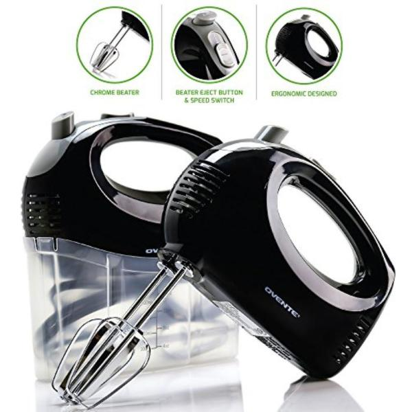 Ovente 5-Speed Ultra Power Hand Mixer with Free Storage Case, Black