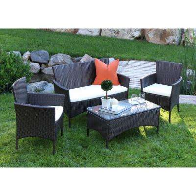 Brown Rattan 4-Piece Patio Chat Set with White Cushions