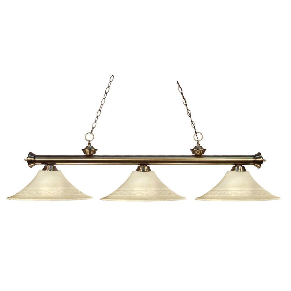 Filament Design Coastal 3-Light Antique Brass Island Light