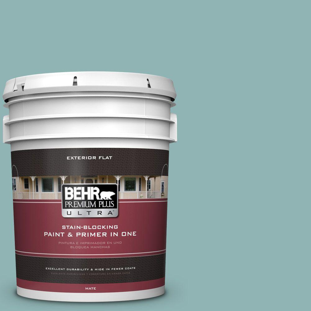 BEHR Premium Plus Ultra 5-gal. #BIC-24 Artful Aqua Flat Exterior Paint