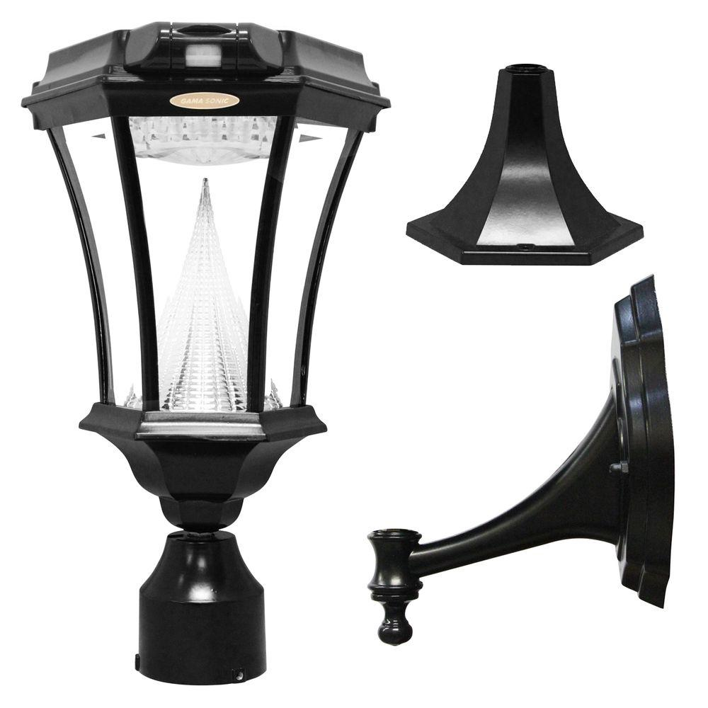 Gama Sonic Victorian Single Black Integrated Led Outdoor Solar Lamp With 3 Mounting Options And