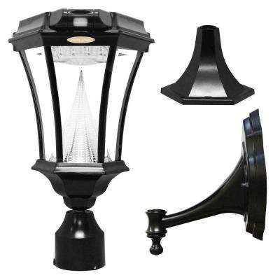 Victorian Single Black Integrated LED Outdoor Solar Lamp with 3-Mounting Options and Motion Sensor