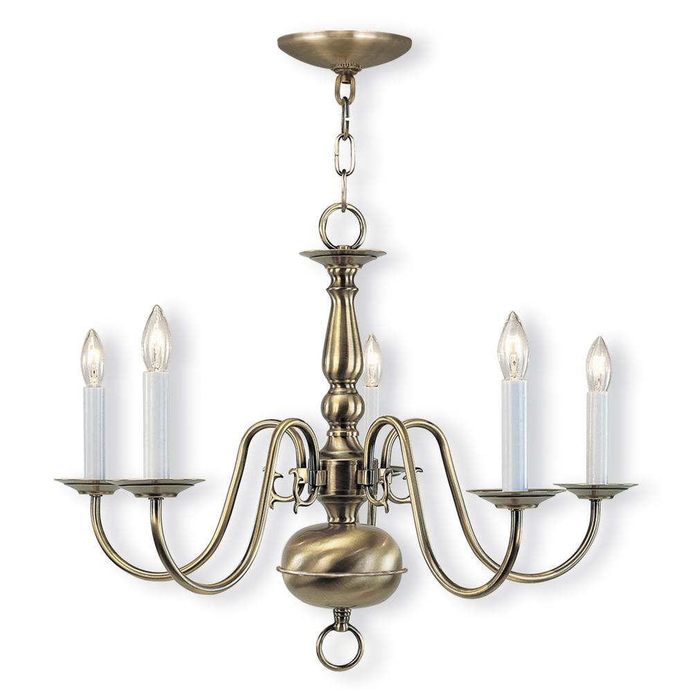 Williamsburgh 5-Light Antique Brass Chandelier